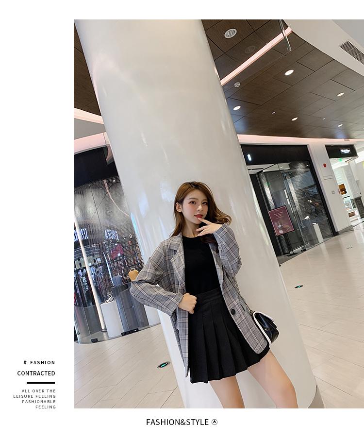 韓国 ファッション セットアップ 春 秋 冬 カジュアル PTXG375  ビッグシルエット プリーツスカート プレッピー オルチャン シンプル 定番 セレカジの写真9枚目