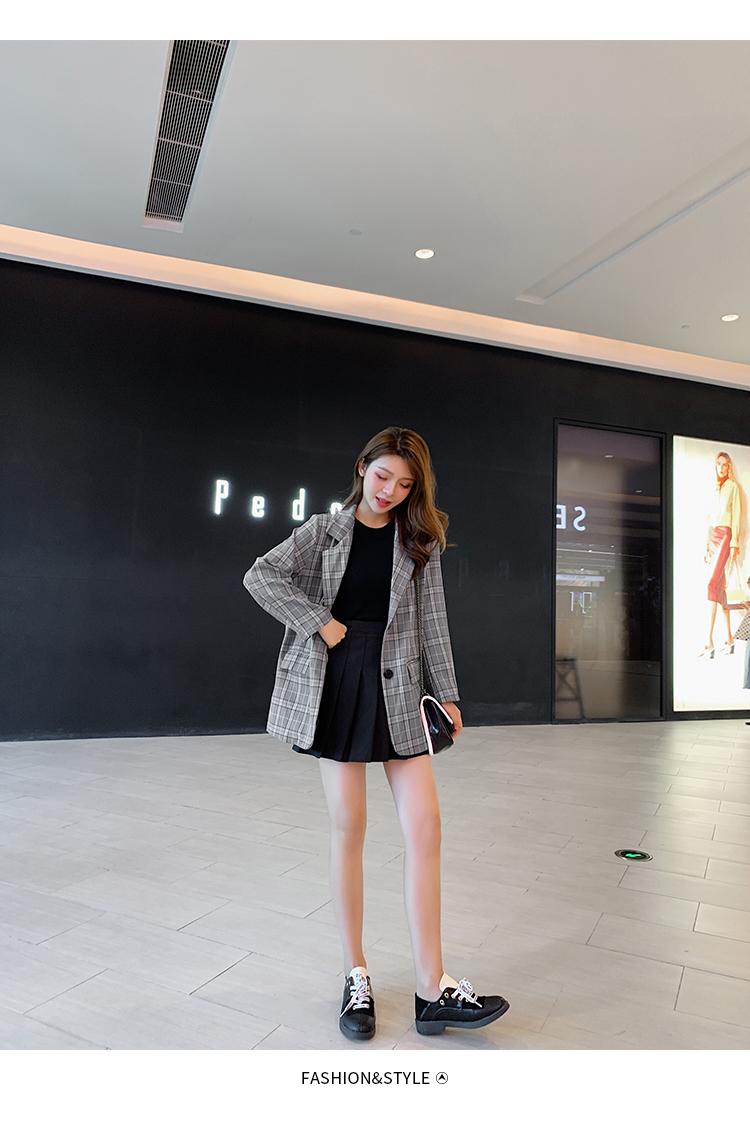韓国 ファッション セットアップ 春 秋 冬 カジュアル PTXG375  ビッグシルエット プリーツスカート プレッピー オルチャン シンプル 定番 セレカジの写真11枚目