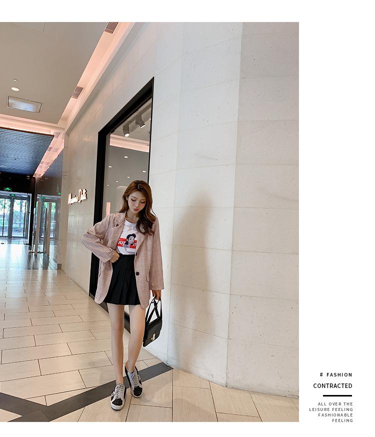 韓国 ファッション セットアップ 春 秋 冬 カジュアル PTXG375  ビッグシルエット プリーツスカート プレッピー オルチャン シンプル 定番 セレカジの写真16枚目