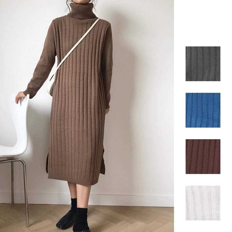 韓国 ファッション ワンピース 秋 冬 カジュアル PTXG412  リブニットワンピース ゆるタイト リラクシー オルチャン シンプル 定番 セレカジの写真1枚目