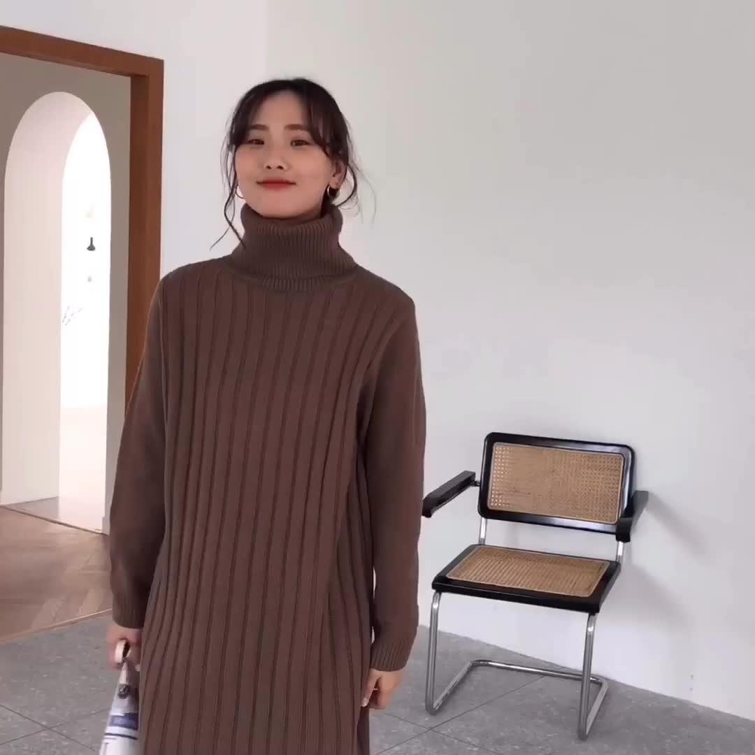 韓国 ファッション ワンピース 秋 冬 カジュアル PTXG412  リブニットワンピース ゆるタイト リラクシー オルチャン シンプル 定番 セレカジの写真2枚目
