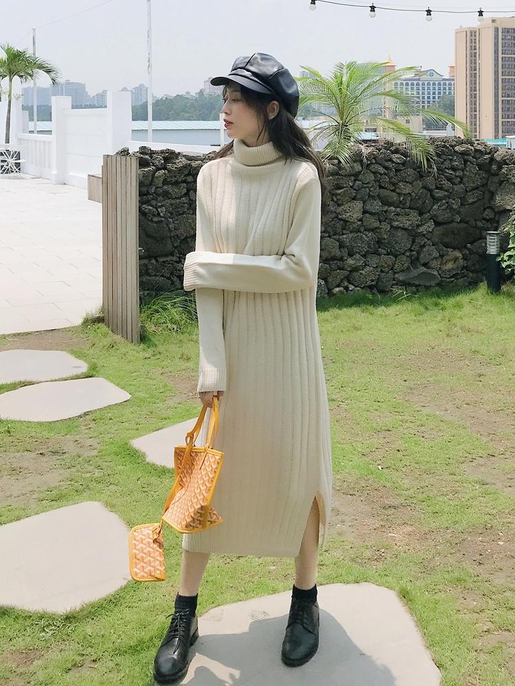 韓国 ファッション ワンピース 秋 冬 カジュアル PTXG412  リブニットワンピース ゆるタイト リラクシー オルチャン シンプル 定番 セレカジの写真4枚目