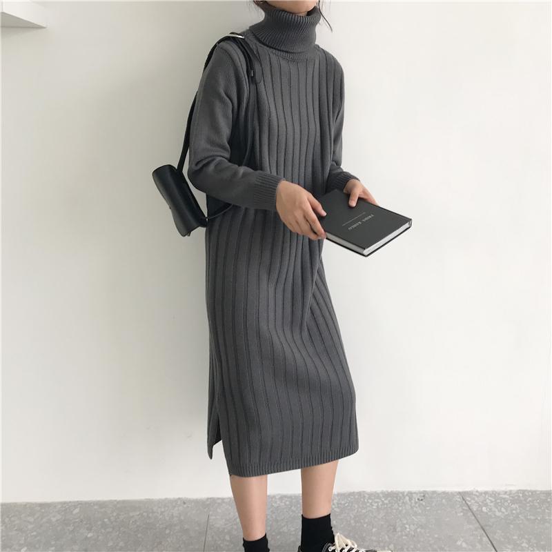 韓国 ファッション ワンピース 秋 冬 カジュアル PTXG412  リブニットワンピース ゆるタイト リラクシー オルチャン シンプル 定番 セレカジの写真5枚目