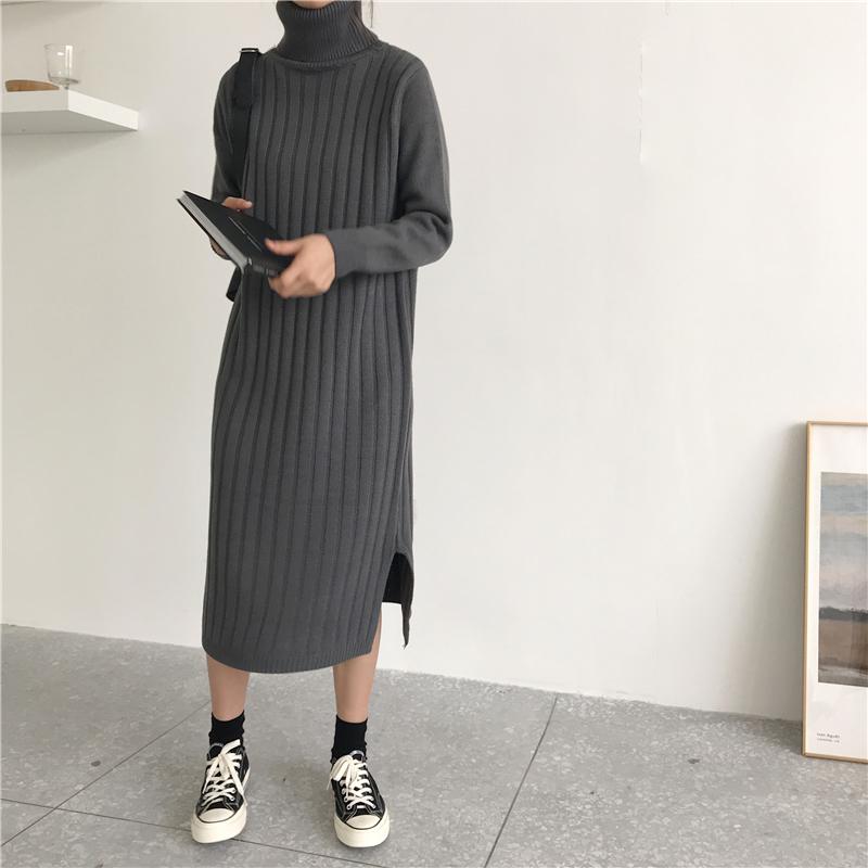 韓国 ファッション ワンピース 秋 冬 カジュアル PTXG412  リブニットワンピース ゆるタイト リラクシー オルチャン シンプル 定番 セレカジの写真7枚目