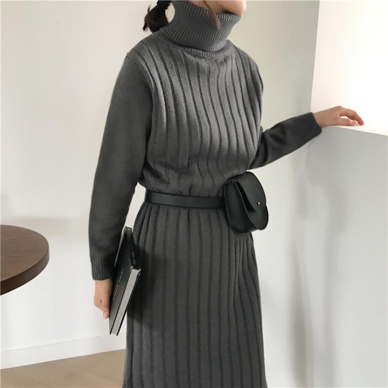 韓国 ファッション ワンピース 秋 冬 カジュアル PTXG412  リブニットワンピース ゆるタイト リラクシー オルチャン シンプル 定番 セレカジの写真8枚目