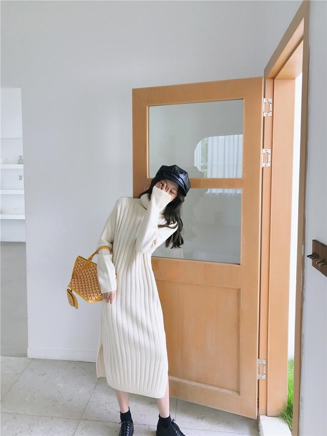 韓国 ファッション ワンピース 秋 冬 カジュアル PTXG412  リブニットワンピース ゆるタイト リラクシー オルチャン シンプル 定番 セレカジの写真9枚目