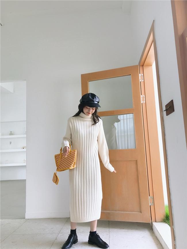 韓国 ファッション ワンピース 秋 冬 カジュアル PTXG412  リブニットワンピース ゆるタイト リラクシー オルチャン シンプル 定番 セレカジの写真10枚目