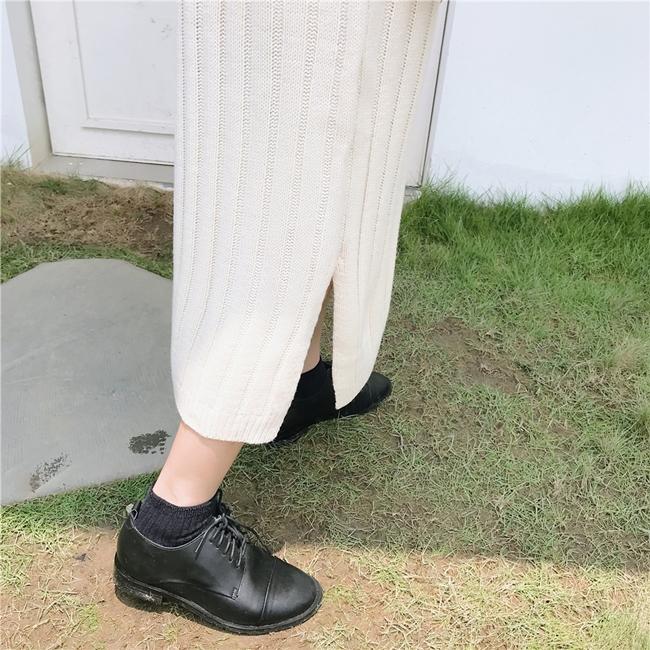韓国 ファッション ワンピース 秋 冬 カジュアル PTXG412  リブニットワンピース ゆるタイト リラクシー オルチャン シンプル 定番 セレカジの写真12枚目