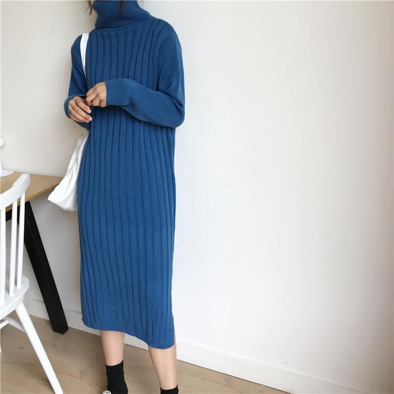 韓国 ファッション ワンピース 秋 冬 カジュアル PTXG412  リブニットワンピース ゆるタイト リラクシー オルチャン シンプル 定番 セレカジの写真13枚目