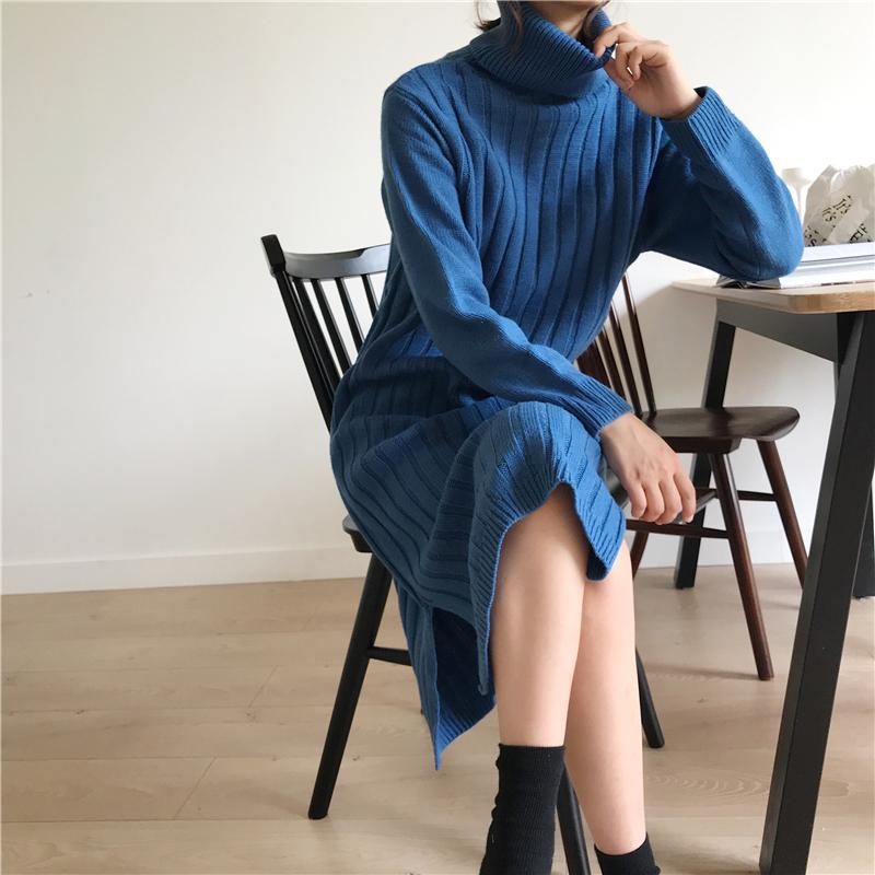 韓国 ファッション ワンピース 秋 冬 カジュアル PTXG412  リブニットワンピース ゆるタイト リラクシー オルチャン シンプル 定番 セレカジの写真16枚目