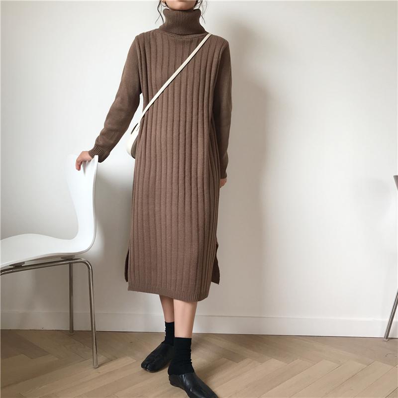 韓国 ファッション ワンピース 秋 冬 カジュアル PTXG412  リブニットワンピース ゆるタイト リラクシー オルチャン シンプル 定番 セレカジの写真18枚目