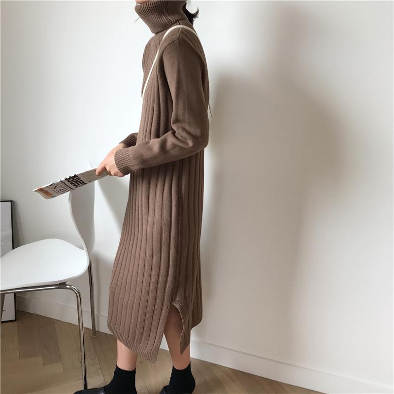 韓国 ファッション ワンピース 秋 冬 カジュアル PTXG412  リブニットワンピース ゆるタイト リラクシー オルチャン シンプル 定番 セレカジの写真19枚目