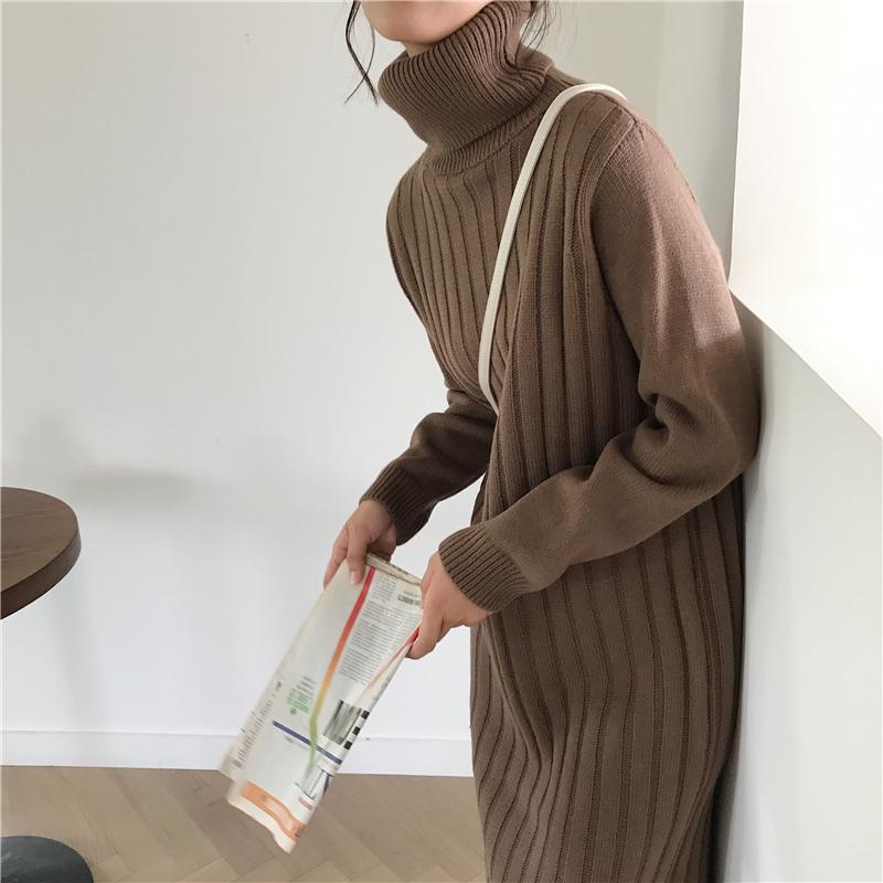 韓国 ファッション ワンピース 秋 冬 カジュアル PTXG412  リブニットワンピース ゆるタイト リラクシー オルチャン シンプル 定番 セレカジの写真20枚目
