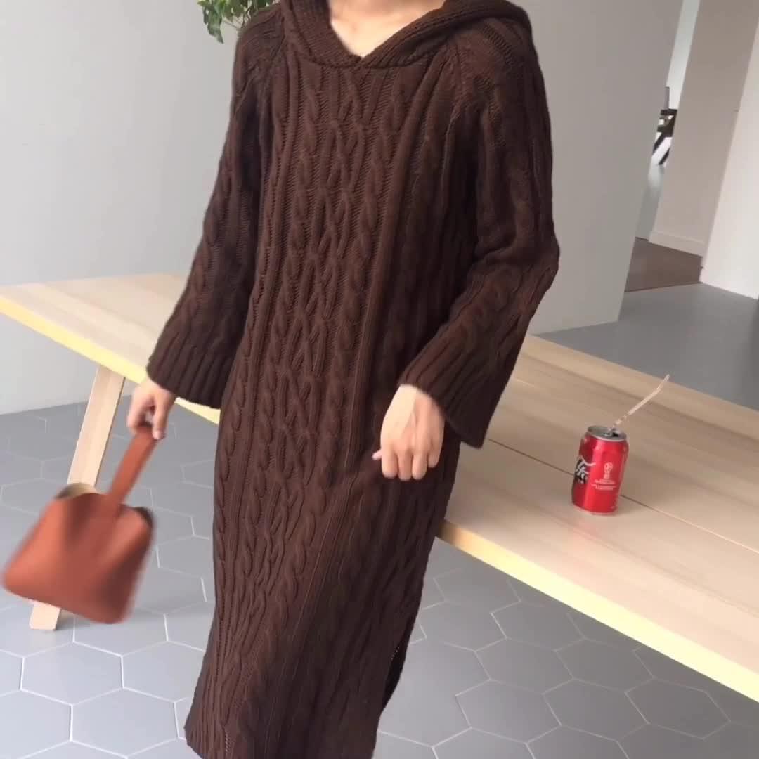 韓国 ファッション ワンピース 秋 冬 カジュアル PTXG414  ケーブルニットワンピース フード付き ラフ オルチャン シンプル 定番 セレカジの写真2枚目
