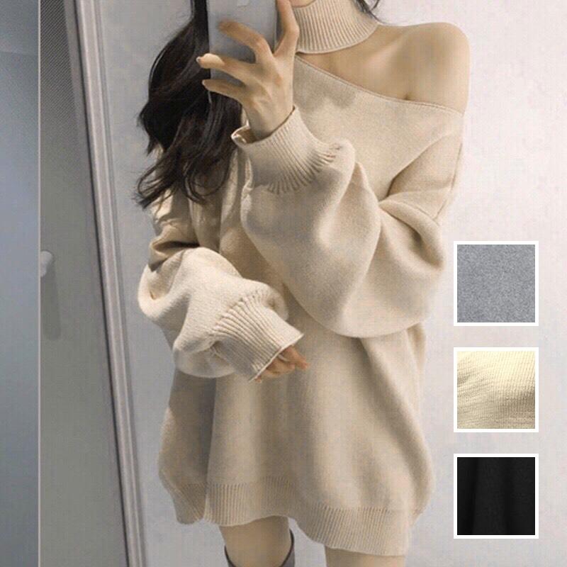 韓国 ファッション トップス ニット セーター 秋 冬 カジュアル PTXG443  アシンメトリー カットオフ 肌見せ リブニット オルチャン シンプル 定番 セレカジの写真1枚目