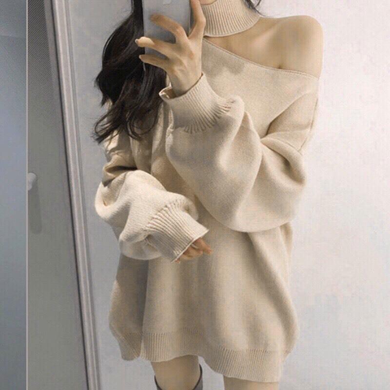 韓国 ファッション トップス ニット セーター 秋 冬 カジュアル PTXG443  アシンメトリー カットオフ 肌見せ リブニット オルチャン シンプル 定番 セレカジの写真2枚目