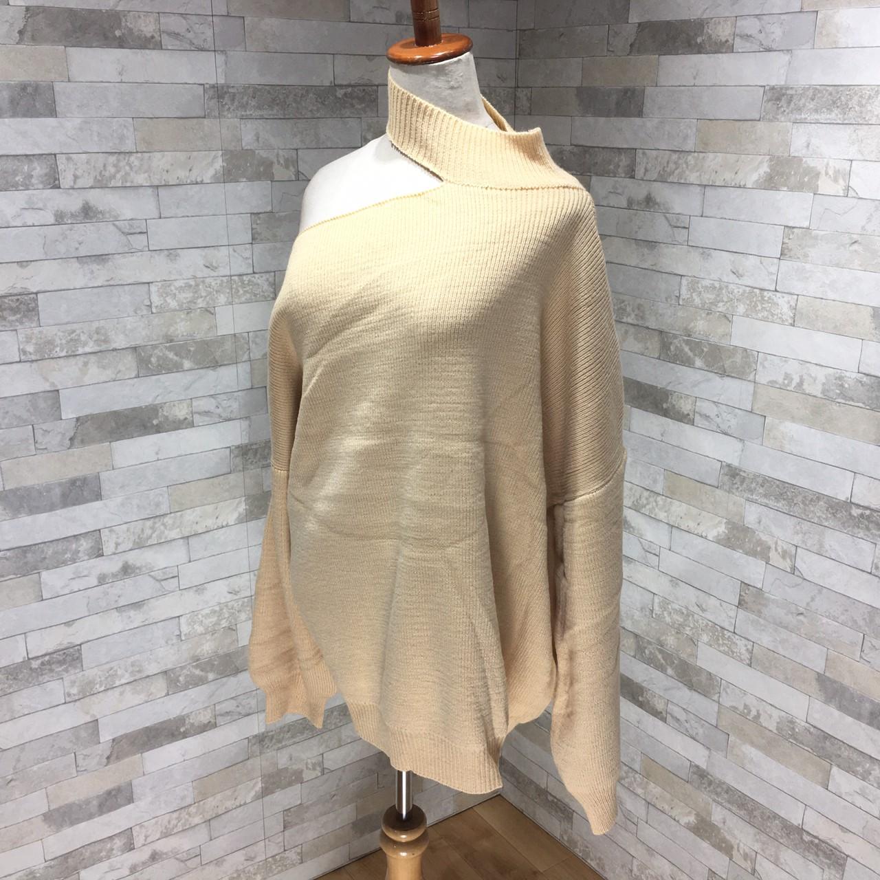 韓国 ファッション トップス ニット セーター 秋 冬 カジュアル PTXG443  アシンメトリー カットオフ 肌見せ リブニット オルチャン シンプル 定番 セレカジの写真12枚目