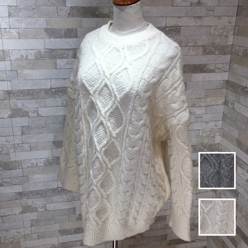 【即納】韓国 ファッション トップス ニット セーター 秋 冬 カジュアル SPTXG551  北欧風 模様編み ビッグシルエット 華奢見せ オルチャン シンプル 定番 セレカジの写真1枚目