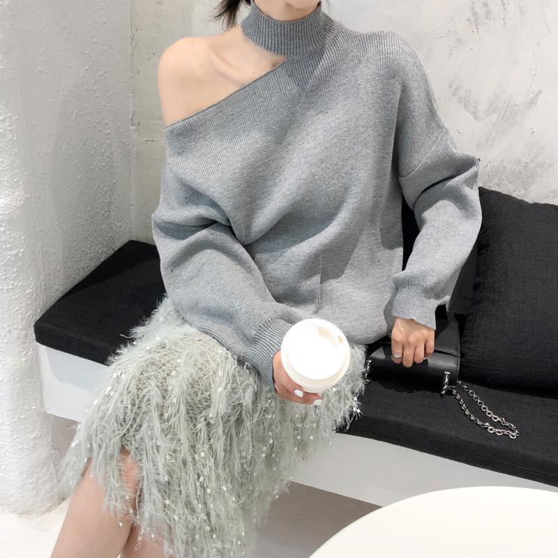 韓国 ファッション トップス ニット セーター 秋 冬 カジュアル PTXG559  アシンメトリー カットオフ リブ 華奢見せ オルチャン シンプル 定番 セレカジの写真2枚目