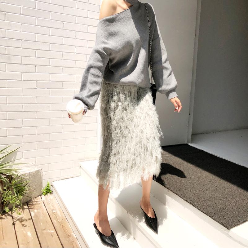 韓国 ファッション トップス ニット セーター 秋 冬 カジュアル PTXG559  アシンメトリー カットオフ リブ 華奢見せ オルチャン シンプル 定番 セレカジの写真5枚目
