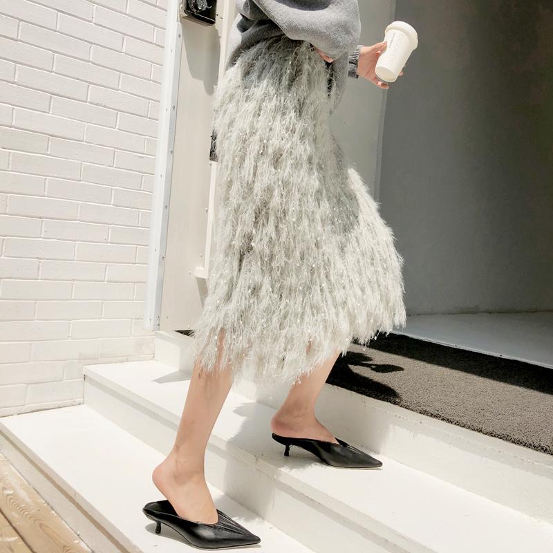 韓国 ファッション トップス ニット セーター 秋 冬 カジュアル PTXG559  アシンメトリー カットオフ リブ 華奢見せ オルチャン シンプル 定番 セレカジの写真6枚目