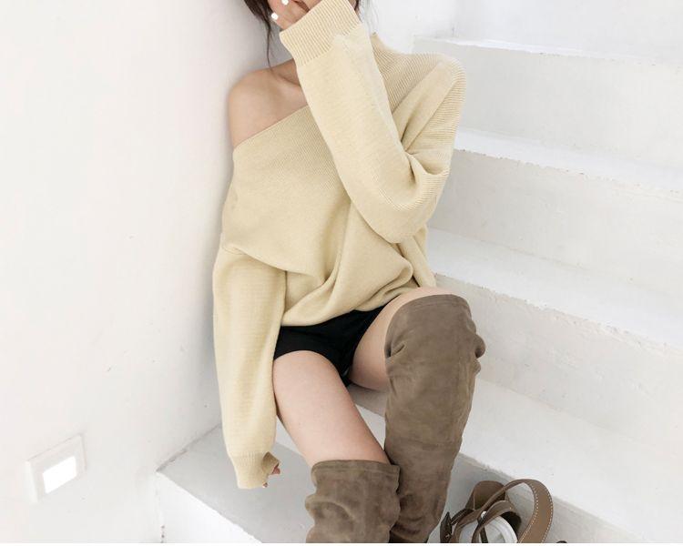 韓国 ファッション トップス ニット セーター 秋 冬 カジュアル PTXG559  アシンメトリー カットオフ リブ 華奢見せ オルチャン シンプル 定番 セレカジの写真13枚目