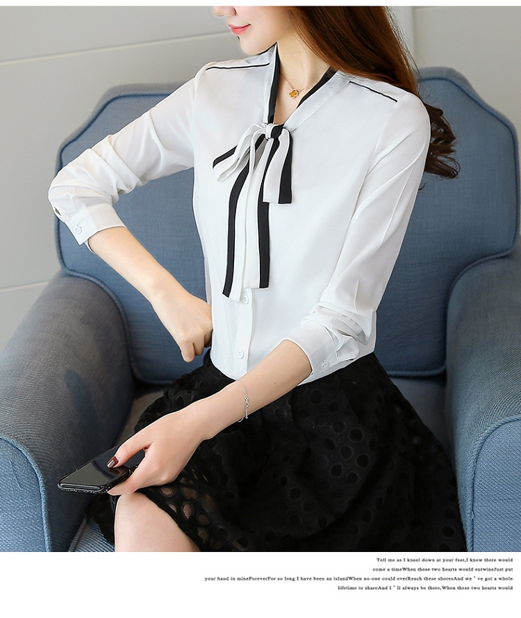 韓国 ファッション トップス ブラウス シャツ 春 秋 冬 カジュアル PTXG560  ボウタイ パイピング オフィス エレガント オルチャン シンプル 定番 セレカジの写真9枚目