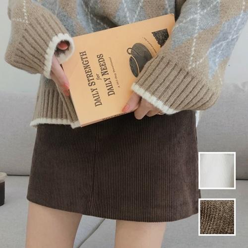 【即納】韓国 ファッション スカート ミニ ボトムス 秋 冬 カジュアル SPTXG567  コーデュロイ ベイクドカラー ガーリー オルチャン シンプル 定番 セレカジの写真1枚目