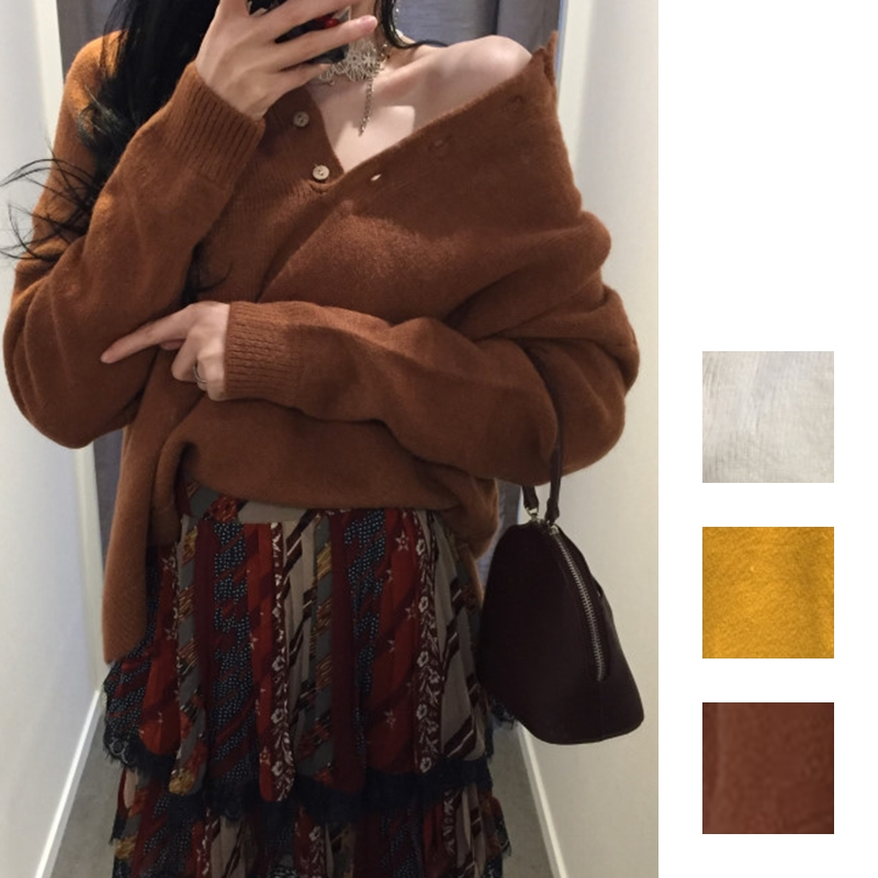 韓国 ファッション トップス ニット セーター 秋 冬 カジュアル PTXG574  ベイクドカラー ビッグシルエット リブニット オルチャン シンプル 定番 セレカジの写真1枚目