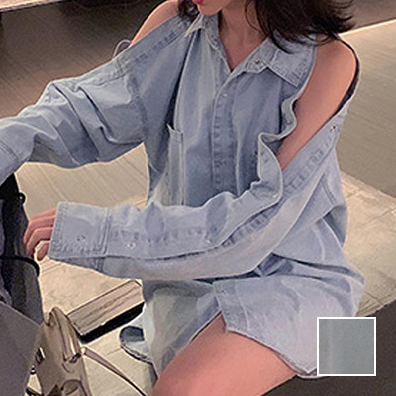 韓国 ファッション トップス ブラウス シャツ 春 秋 冬 カジュアル PTXG584  ビッグシルエット オープンショルダー 肩見せ オルチャン シンプル 定番 セレカジの写真1枚目