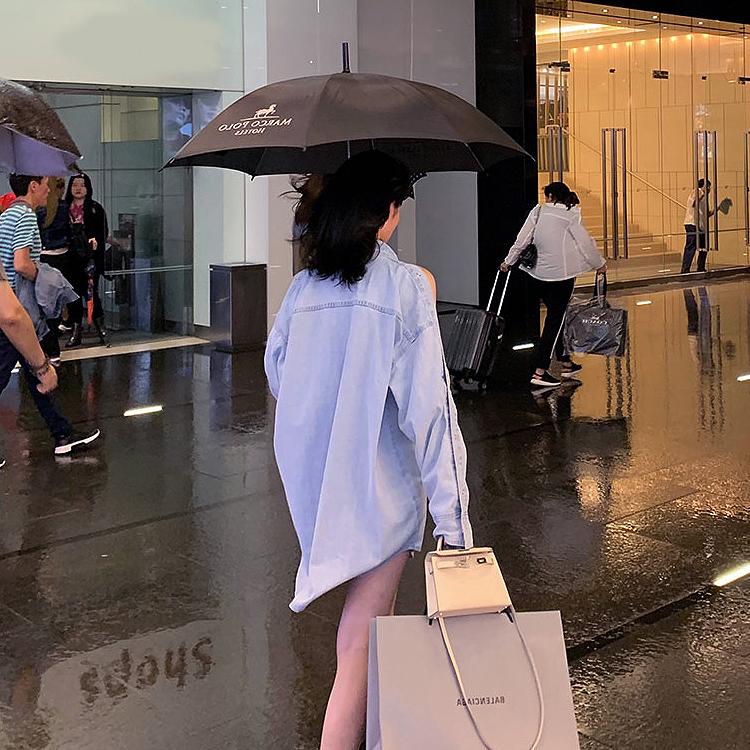 韓国 ファッション トップス ブラウス シャツ 春 秋 冬 カジュアル PTXG584  ビッグシルエット オープンショルダー 肩見せ オルチャン シンプル 定番 セレカジの写真3枚目