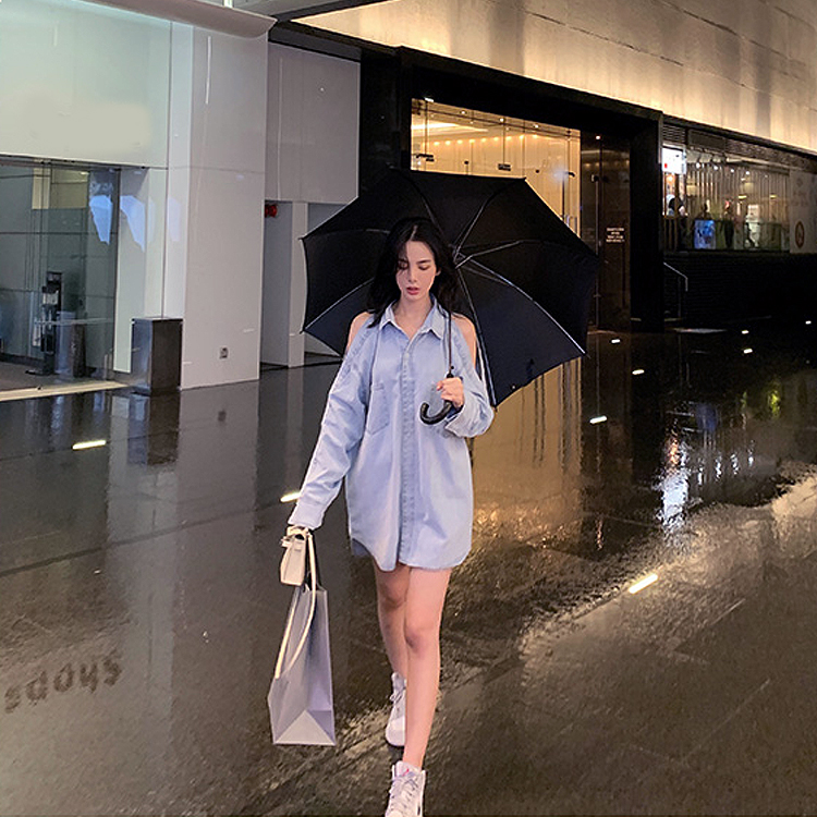 韓国 ファッション トップス ブラウス シャツ 春 秋 冬 カジュアル PTXG584  ビッグシルエット オープンショルダー 肩見せ オルチャン シンプル 定番 セレカジの写真8枚目