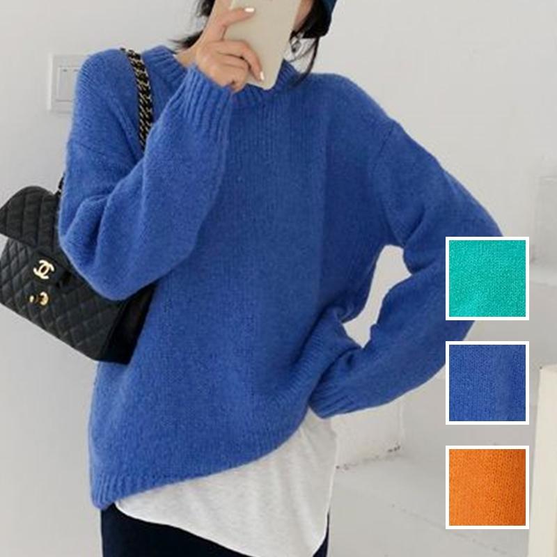 韓国 ファッション トップス ニット セーター 秋 冬 カジュアル PTXG609  ビタミンカラー ビッグシルエット リブ 着回し オルチャン シンプル 定番 セレカジの写真1枚目
