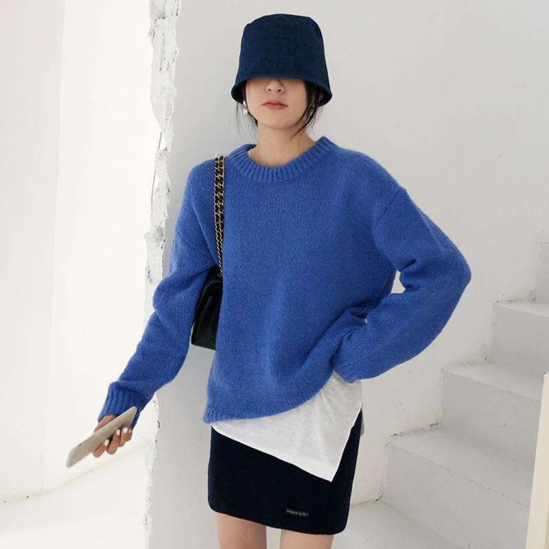韓国 ファッション トップス ニット セーター 秋 冬 カジュアル PTXG609  ビタミンカラー ビッグシルエット リブ 着回し オルチャン シンプル 定番 セレカジの写真2枚目