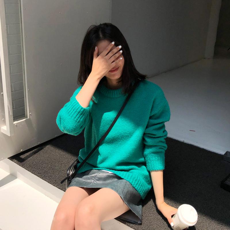 韓国 ファッション トップス ニット セーター 秋 冬 カジュアル PTXG609  ビタミンカラー ビッグシルエット リブ 着回し オルチャン シンプル 定番 セレカジの写真3枚目