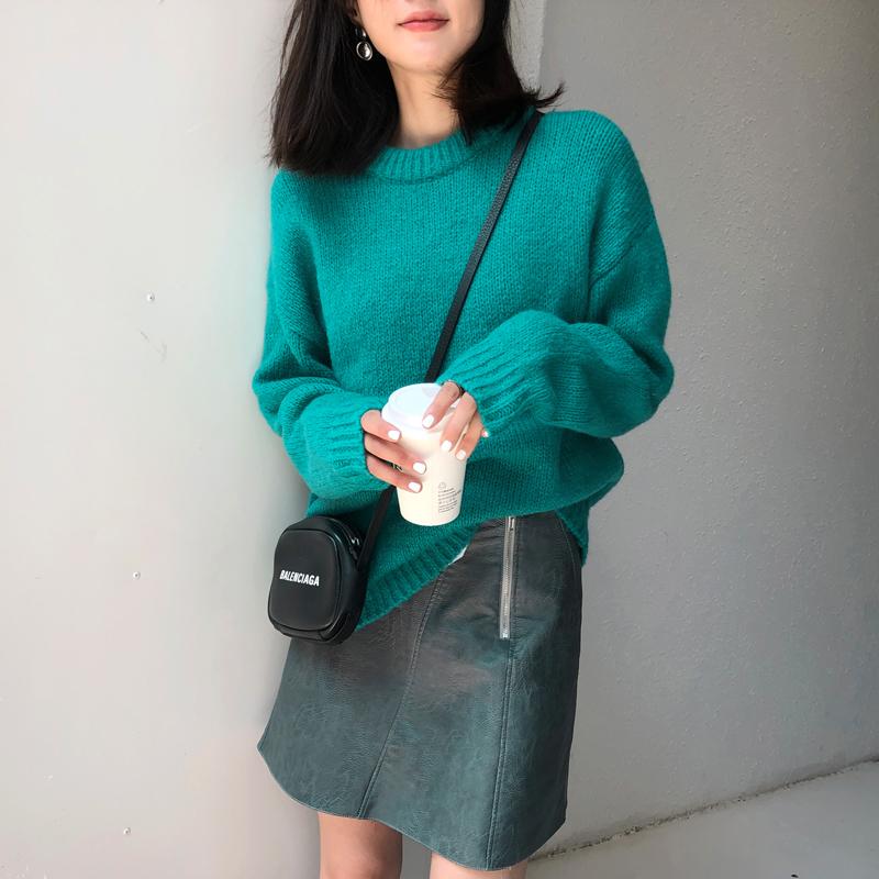 韓国 ファッション トップス ニット セーター 秋 冬 カジュアル PTXG609  ビタミンカラー ビッグシルエット リブ 着回し オルチャン シンプル 定番 セレカジの写真4枚目