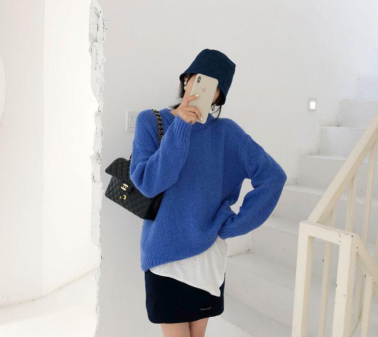 韓国 ファッション トップス ニット セーター 秋 冬 カジュアル PTXG609  ビタミンカラー ビッグシルエット リブ 着回し オルチャン シンプル 定番 セレカジの写真6枚目