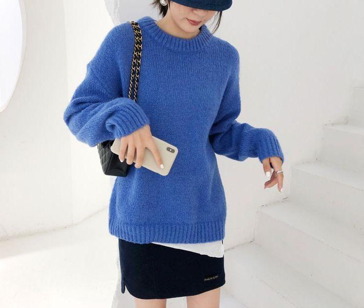 韓国 ファッション トップス ニット セーター 秋 冬 カジュアル PTXG609  ビタミンカラー ビッグシルエット リブ 着回し オルチャン シンプル 定番 セレカジの写真7枚目