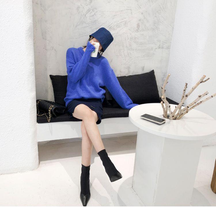 韓国 ファッション トップス ニット セーター 秋 冬 カジュアル PTXG609  ビタミンカラー ビッグシルエット リブ 着回し オルチャン シンプル 定番 セレカジの写真8枚目