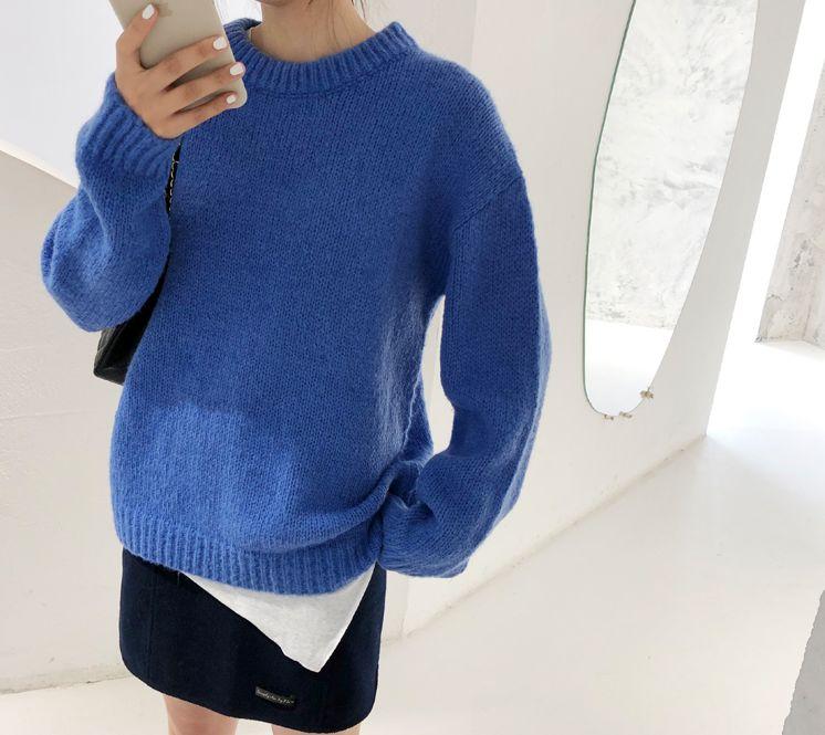 韓国 ファッション トップス ニット セーター 秋 冬 カジュアル PTXG609  ビタミンカラー ビッグシルエット リブ 着回し オルチャン シンプル 定番 セレカジの写真9枚目