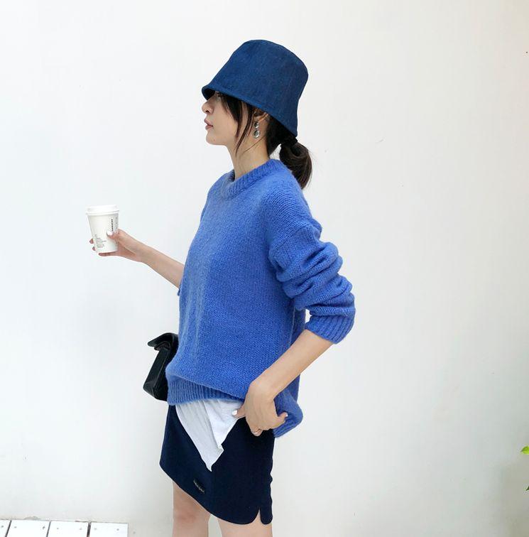 韓国 ファッション トップス ニット セーター 秋 冬 カジュアル PTXG609  ビタミンカラー ビッグシルエット リブ 着回し オルチャン シンプル 定番 セレカジの写真10枚目