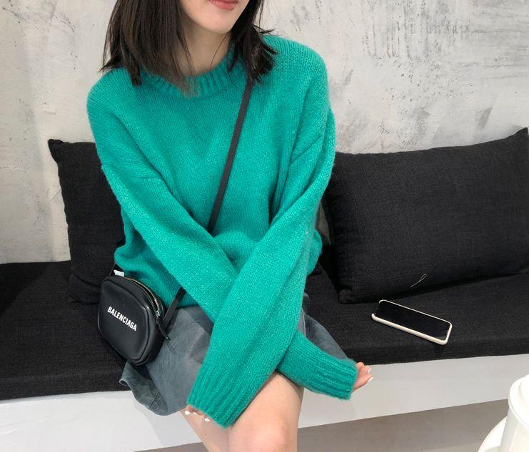 韓国 ファッション トップス ニット セーター 秋 冬 カジュアル PTXG609  ビタミンカラー ビッグシルエット リブ 着回し オルチャン シンプル 定番 セレカジの写真12枚目