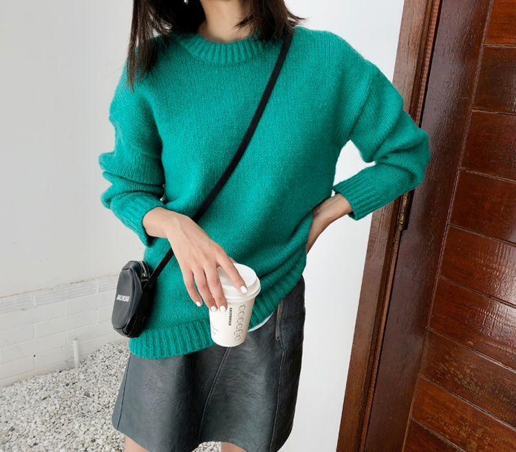 韓国 ファッション トップス ニット セーター 秋 冬 カジュアル PTXG609  ビタミンカラー ビッグシルエット リブ 着回し オルチャン シンプル 定番 セレカジの写真13枚目