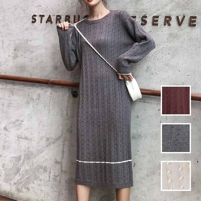 韓国 ファッション ワンピース 秋 冬 カジュアル PTXG624  ライン ケーブルニットワンピース ゆるタイト オルチャン シンプル 定番 セレカジの写真1枚目