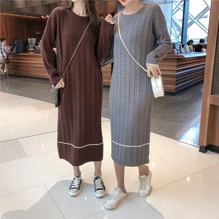 韓国 ファッション ワンピース 秋 冬 カジュアル PTXG624  ライン ケーブルニットワンピース ゆるタイト オルチャン シンプル 定番 セレカジの写真7枚目
