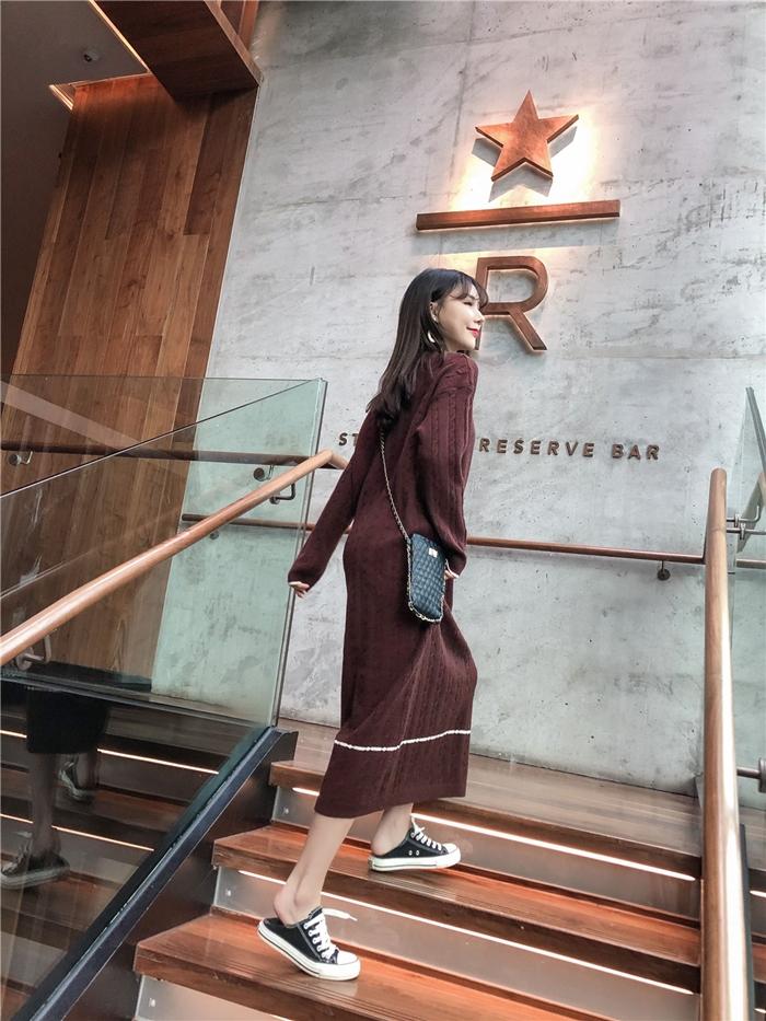 韓国 ファッション ワンピース 秋 冬 カジュアル PTXG624  ライン ケーブルニットワンピース ゆるタイト オルチャン シンプル 定番 セレカジの写真10枚目