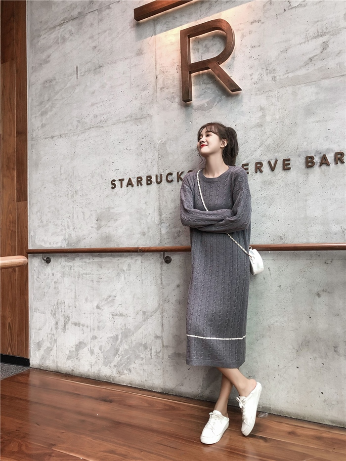 韓国 ファッション ワンピース 秋 冬 カジュアル PTXG624  ライン ケーブルニットワンピース ゆるタイト オルチャン シンプル 定番 セレカジの写真12枚目