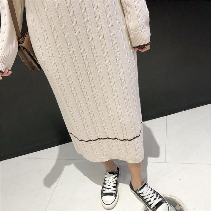 韓国 ファッション ワンピース 秋 冬 カジュアル PTXG624  ライン ケーブルニットワンピース ゆるタイト オルチャン シンプル 定番 セレカジの写真20枚目