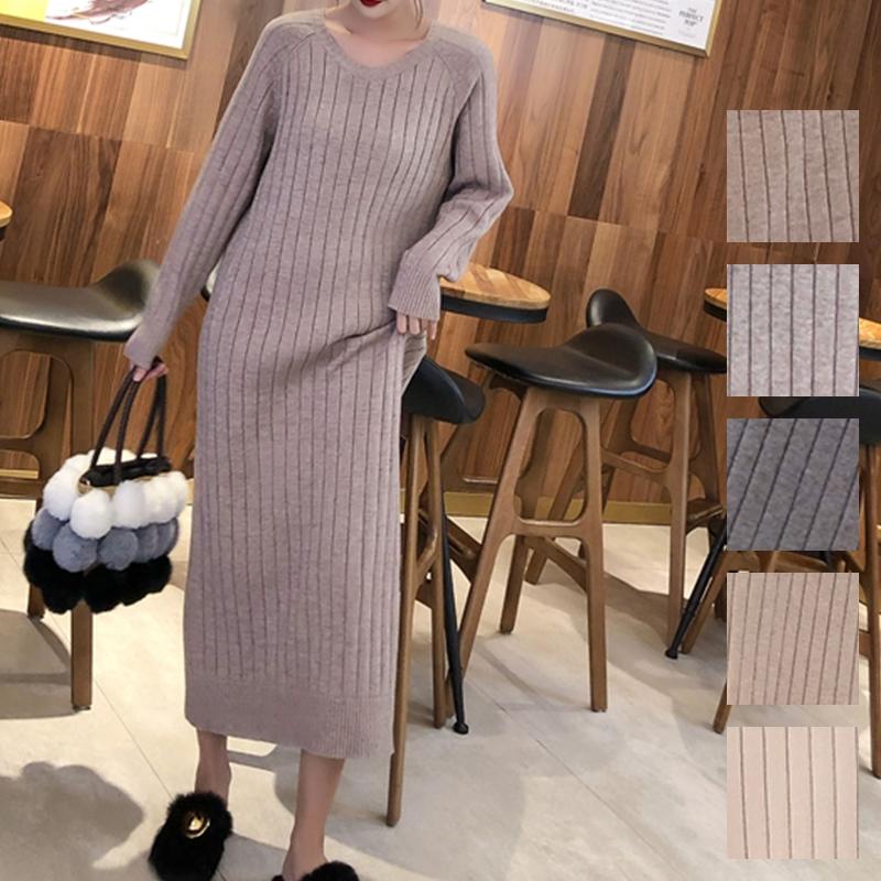 韓国 ファッション ワンピース 秋 冬 カジュアル PTXG665  ニュアンスカラー ゆったり リブ ベーシック オルチャン シンプル 定番 セレカジの写真1枚目