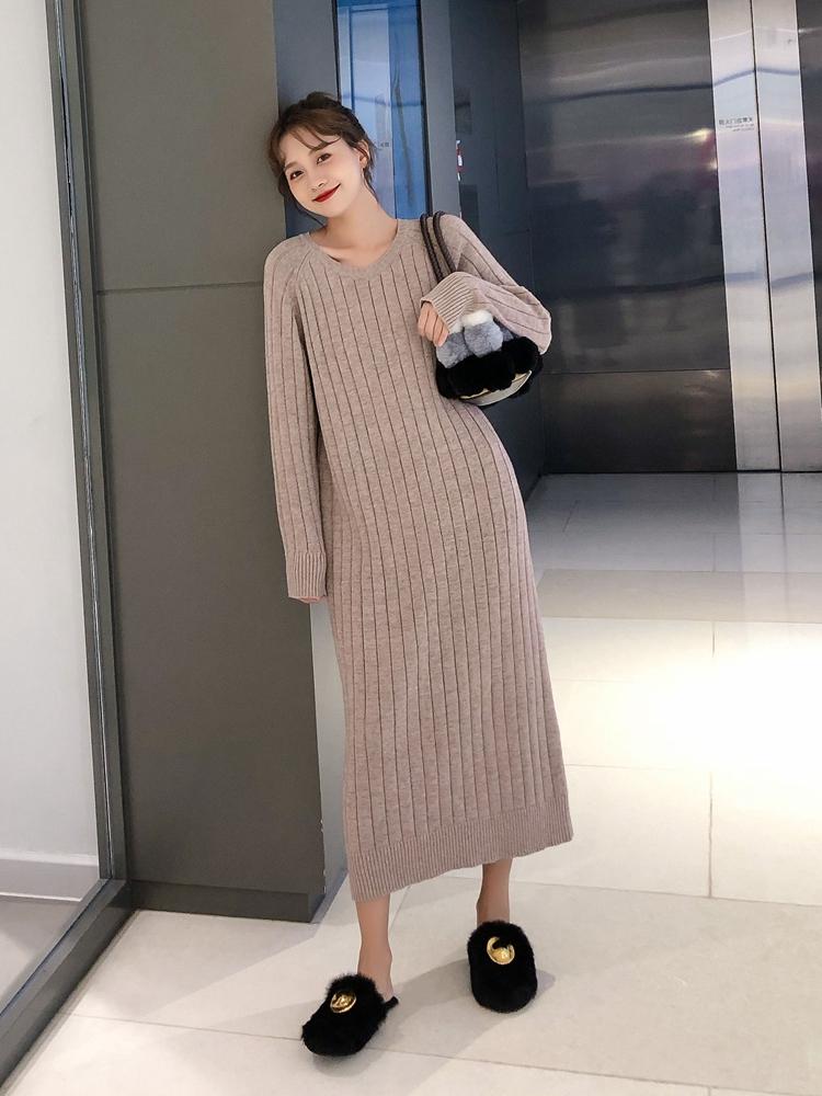 韓国 ファッション ワンピース 秋 冬 カジュアル PTXG665  ニュアンスカラー ゆったり リブ ベーシック オルチャン シンプル 定番 セレカジの写真2枚目